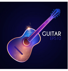 acoustic guitar music instrument with light vector image