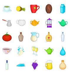 alcoholism icons set cartoon style vector image