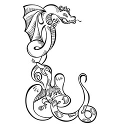 Animal two dragons black decorative art vector
