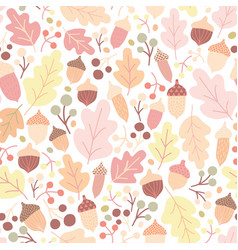 autumn seamless pattern with fallen oak leaves vector image