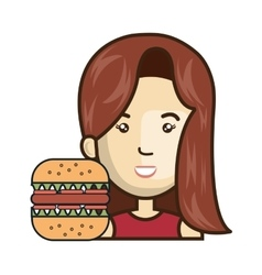 avatar woman with fast food vector image