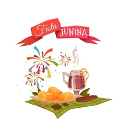 Banner with corn and quentao for Festa Junina vector