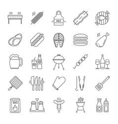 Barbecue linear icons set vector