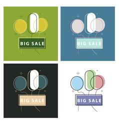 big super sale promotional set emblems in shape vector image