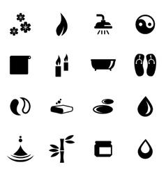black spa icon set vector image