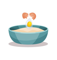 Bowl of flour and broken egg baking ingredients vector