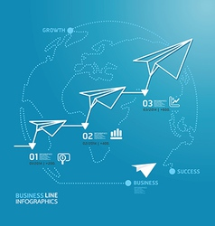 business diagram paper airplanes line style vector image