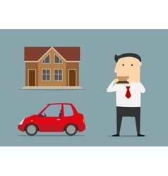 Businessman bought house and car by credit card vector