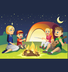 Camping family vector