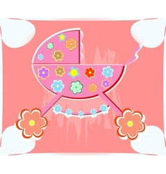 Card for baperambulator for girl vector