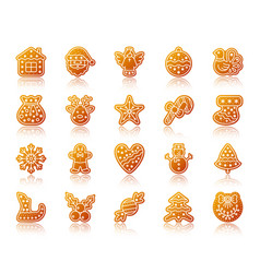 christmas gingerbread gradient icons set vector image