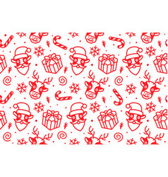 christmas pattern seamless background vector image