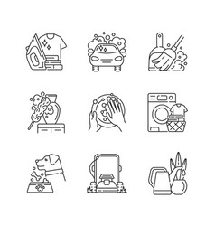 Cleaning chores linear icons set vector