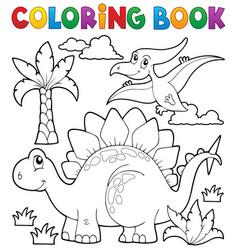 coloring book dinosaur theme 1 vector image