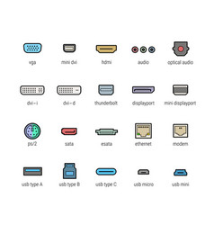 computer interface ports icon set vector image