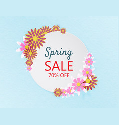 creative spring sale banner background papercut vector image