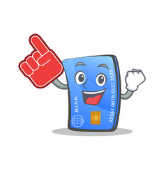 Credit card character cartoon with foam finger vector