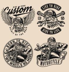 Custom motorcycle monochrome designs vector