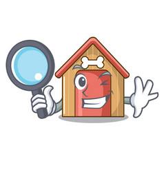 detective cartoon dog house and bone isolated vector image
