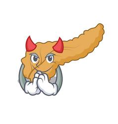 Devil pancreas mascot cartoon style vector