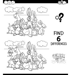 Differences color book with rabbits animal vector