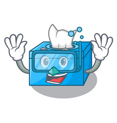 Diving cartoon tissue box in the restaurant vector