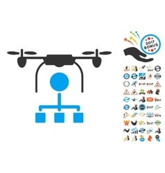 Drone Distribution Icon With 2017 Year Bonus vector