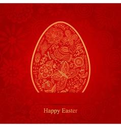easter egg made flowers floral easter egg vector image