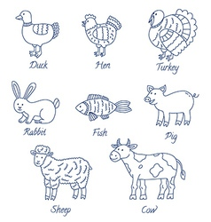 Farm animals cartoon set vector