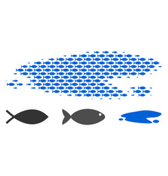 Fish halftone puddle collage vector