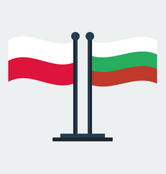 flag of poland and bulgaria flag stand vector image