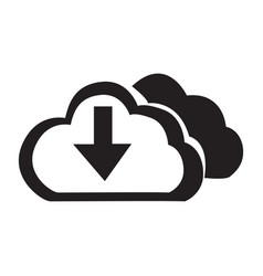 Flat black cloud down button icon vector