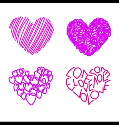 Four Hand Drawing Hearts vector image