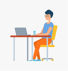 freelancer male working on computer water cup vector image