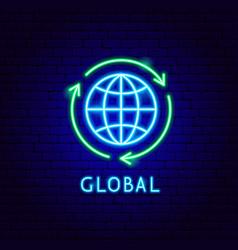 global neon label vector image