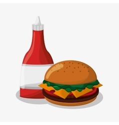 Hamburger of fast food concept vector