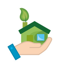 hand with house with ecological leaf to vector image