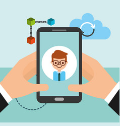 hands with smartphone businessman blockchain vector image