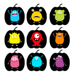 Happy halloween cute monster pumpkin shape icon vector