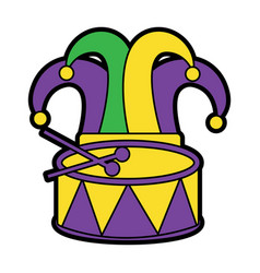 Harlequin hat and drum mardi gras carnival icon vector