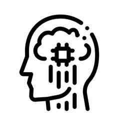 Head nerve impulses biohacking icon vector