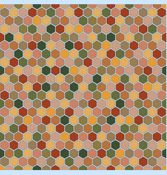 Hexagons seamless pattern in autumn palette vector