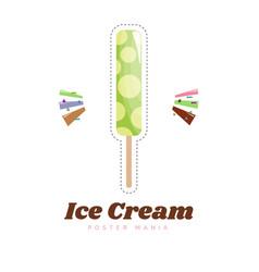 Ice cream sticker or badge color vanilla ice vector