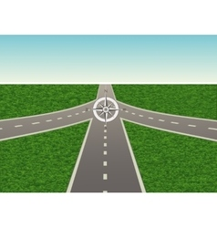 Intersection on highway with compass vector