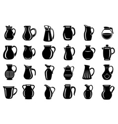 jug milk or water canister icon set simple style vector image
