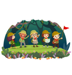 Kid travelers with backpack hiking in forest vector