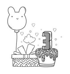 Kids birthday cartoons black white vector