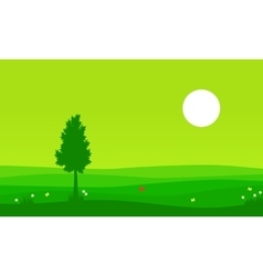 Landscape of spring with tree on the hill vector