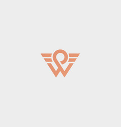 Letter w logotype wings wheel pin road vector