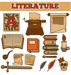 Literature old vintage books and writer quill ink vector